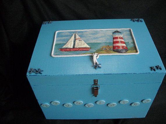 Sky blue christening keepsake chest with by HandmadeByFiona, $182.00