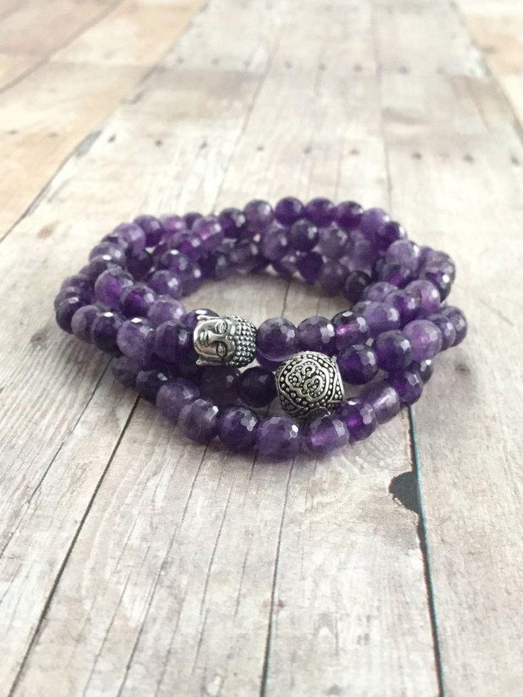 Amethyst Mala Bead Bracelet or Long Beaded Necklace / 108 Bead Mala for Meditation  / Purple Yoga Jewelry