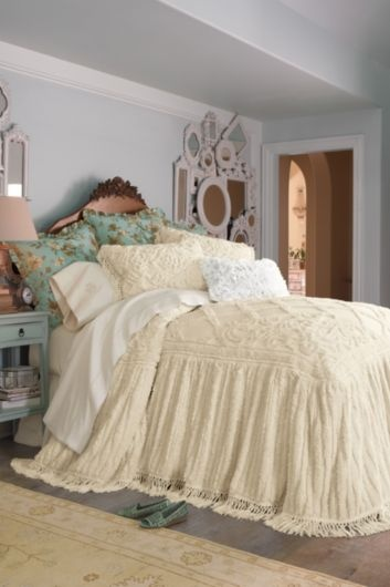 I love chenille bedspreads and coverlets