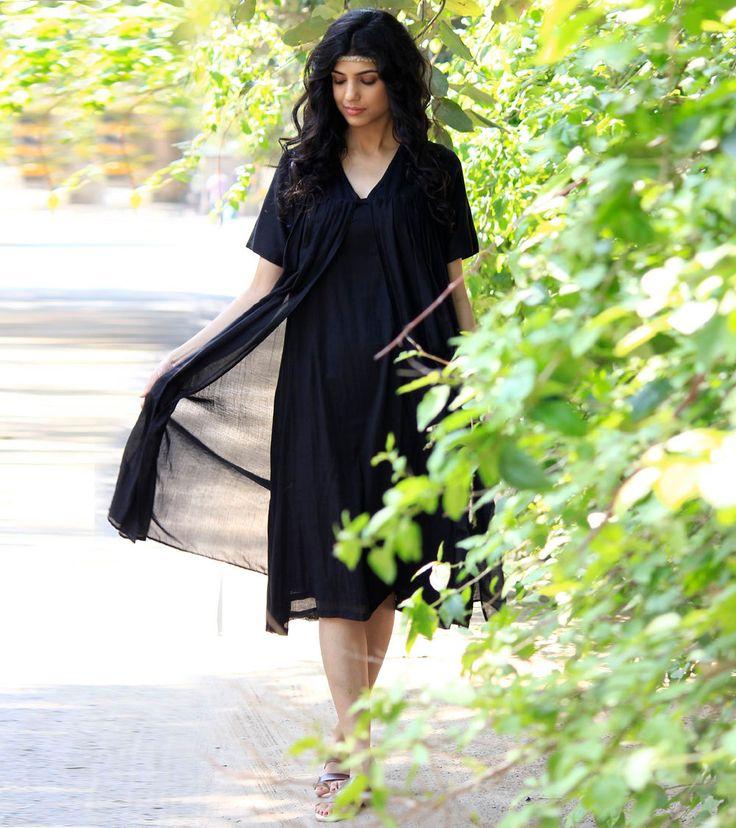 Black layered cotton dress by KharaKapas on Etsy