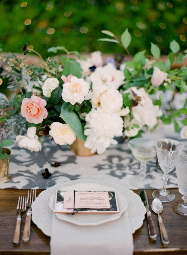 Garden Centerpieces with Black and White Printed Table Runners