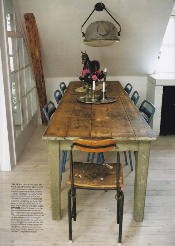 long wood table - for a kitchen!