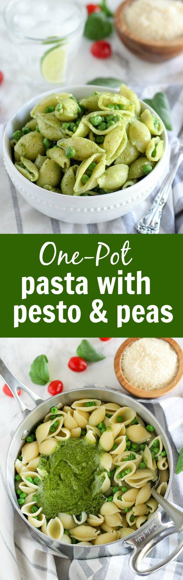 Pasta with Pesto and Peas - A fast and easy one-pot dinner made of pasta with store bought basil pesto and peas. Ready in under 30 minutes with 4 basic ingredients.