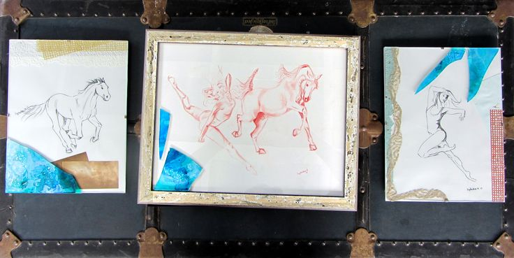 """My submission for the """"Consider the Sensual Edge"""" collaborative show.  """"Dancers"""" is pastel on paper with some decorative paper and broken glass added to the framing."""