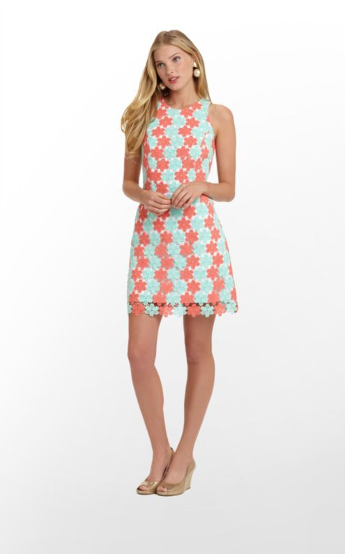Lilly Pulitzer Pearl Dress in coral/turquoise lace