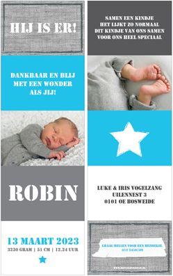 Robin Klein Mini Uniek Geboortekaartje Uitvouwen Blauw Stoer