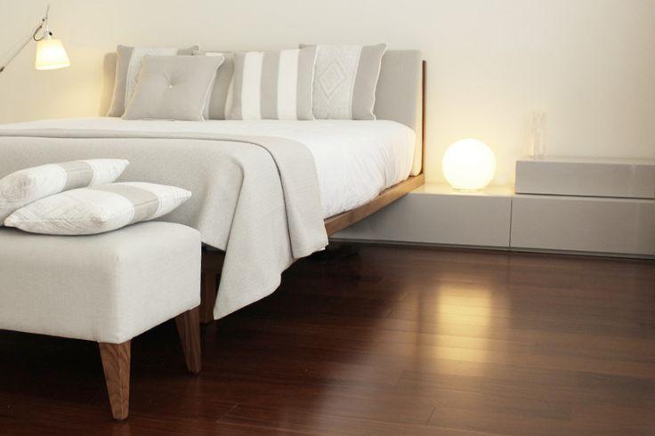 bedroom   tolomeo artemide   upholstered bench   suspensed bed   grey scale