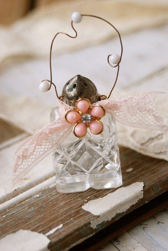 Vintage shabby chic salt shaker ornament