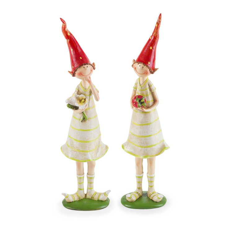 Garden Figurine Ornaments Strawberry Pixies Fairy Polyresin Standing Set of 2 #Gardens2you