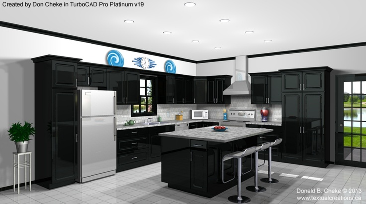 Kitchen design/rendering created by Don Cheke (www.textualcreations.ca) using TurboCAD Pro Platinum v19.