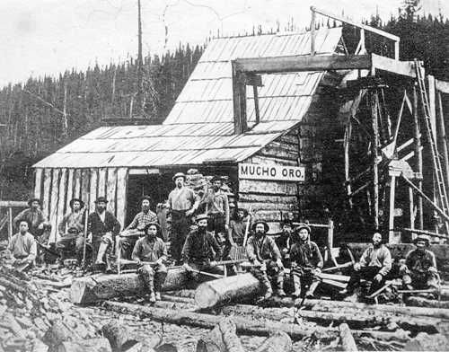 Miners at the Mucho Oro gold mine near Barkerville, circa 1868.