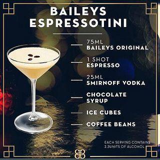 Espressotini  -  Kahlua, Baileys, Frangelico, Absolut Vanilla vodka and a shot of Lavazza espresso. To die for.