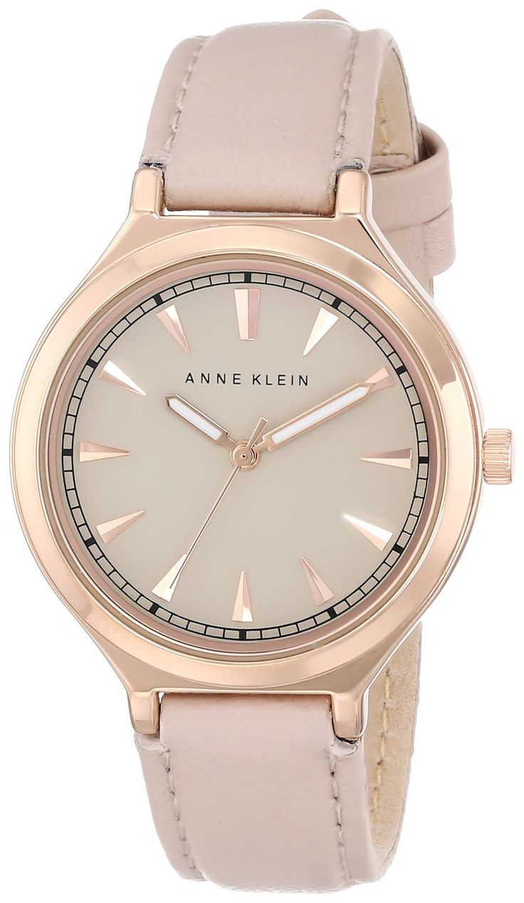 Amazon.com: Anne Klein Women's AK/1504RGLP Rose Gold-Tone Watch with Leather Band: Anne Klein: Watches