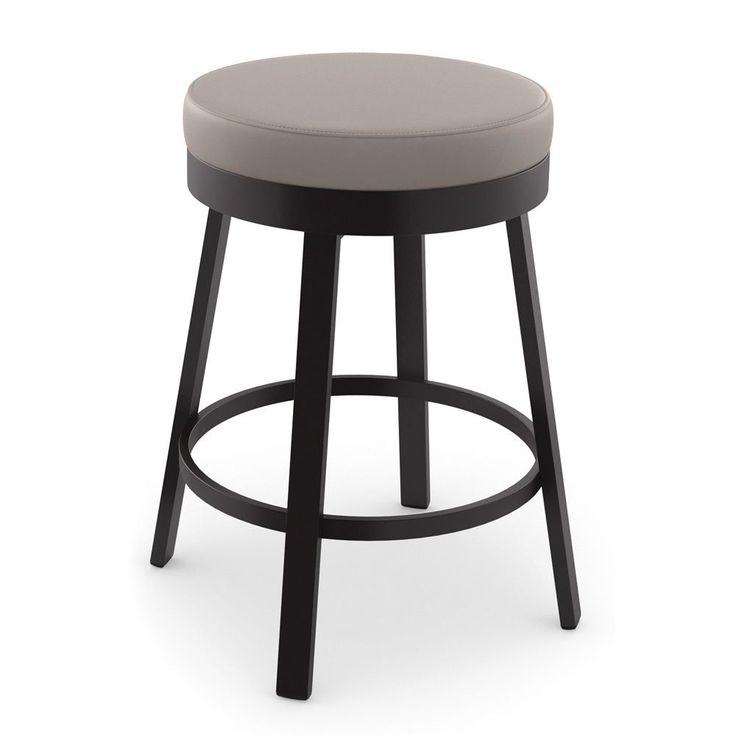 Amisco Clock Swivel Metal Bar Stool Dark Brown Polyurethane Warm Grey
