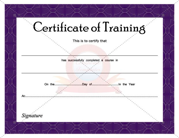 Certificate Of Training Certificate Template Pinterest – Certificate for Training