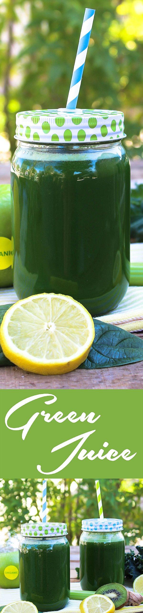 Raw Green Monster Juice - http://veganhuggs.com/classic-green-juice/