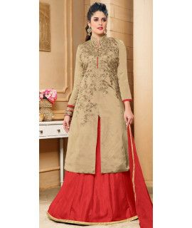 Miserable Beige Silk Lehenga Suit With Dupatta.