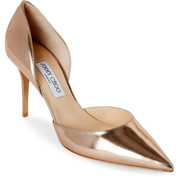 Jimmy Choo Rose Gold Pointed Toe High Heel d'Orsay Pumps ($300) ❤ liked on Polyvore featuring shoes, pumps, metallic, pointy-toe pumps, d'orsay pumps, high heeled footwear, jimmy choo shoes and rose gold metallic shoes