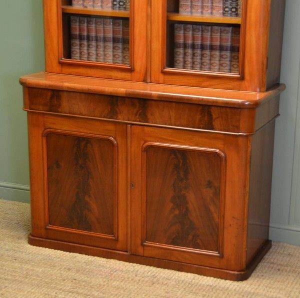 Mellow Mahogany Antique Glazed Victorian Bookcase On Cupboard