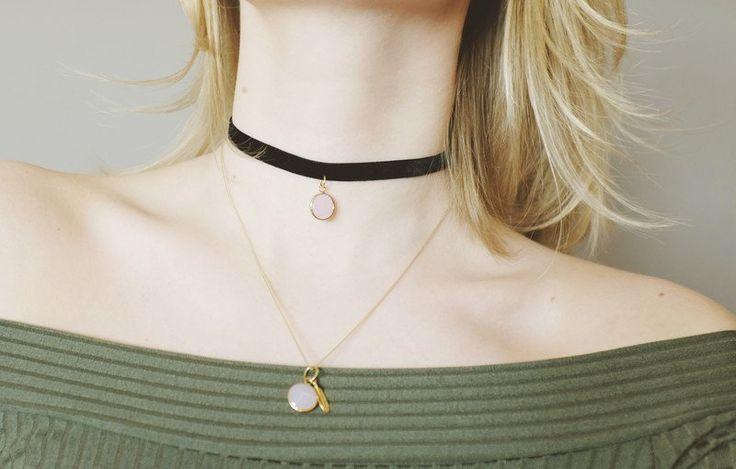 Pink jewel choker - STAGjewels - Obroże