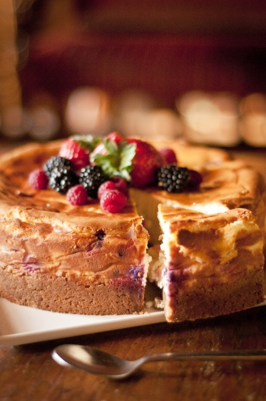 Baked Blueberry Cheesecake served with our delicious raspberry ripple Ice-Cream