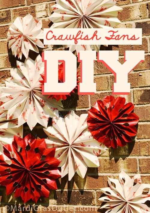 Use crawfish printed newspaper to make unique crawfish boil party decorations: DIY paper fan tutorial