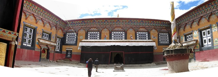 The majestic courtyard of the monastery at Sakya, Tibet.