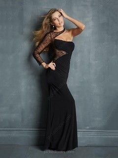 Silk-like Satin One Shoulder Floor-length Sheath/Column Beading Prom Dresses -NZD$198.89