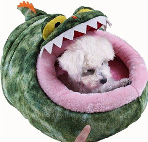Idepettm Pet Dog Cat Bed Crocodile Shape Dog Kennel Bed Puppy