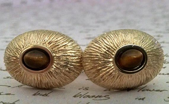 Cuff Links Vintage Tiger Eye Stone Gold Oval Dome Unique