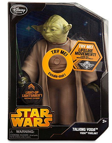 Listen and learnDo or do not collect this highly detailed talking Yoda action figure while you can. With lifelike facial movement, a light-up lightsaber, and more than 15 spoken phrases, there is no try!
