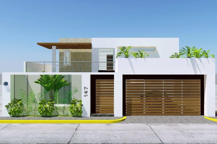 Portones y bardas fachadas pinterest for Fachada de casas modernas con porton
