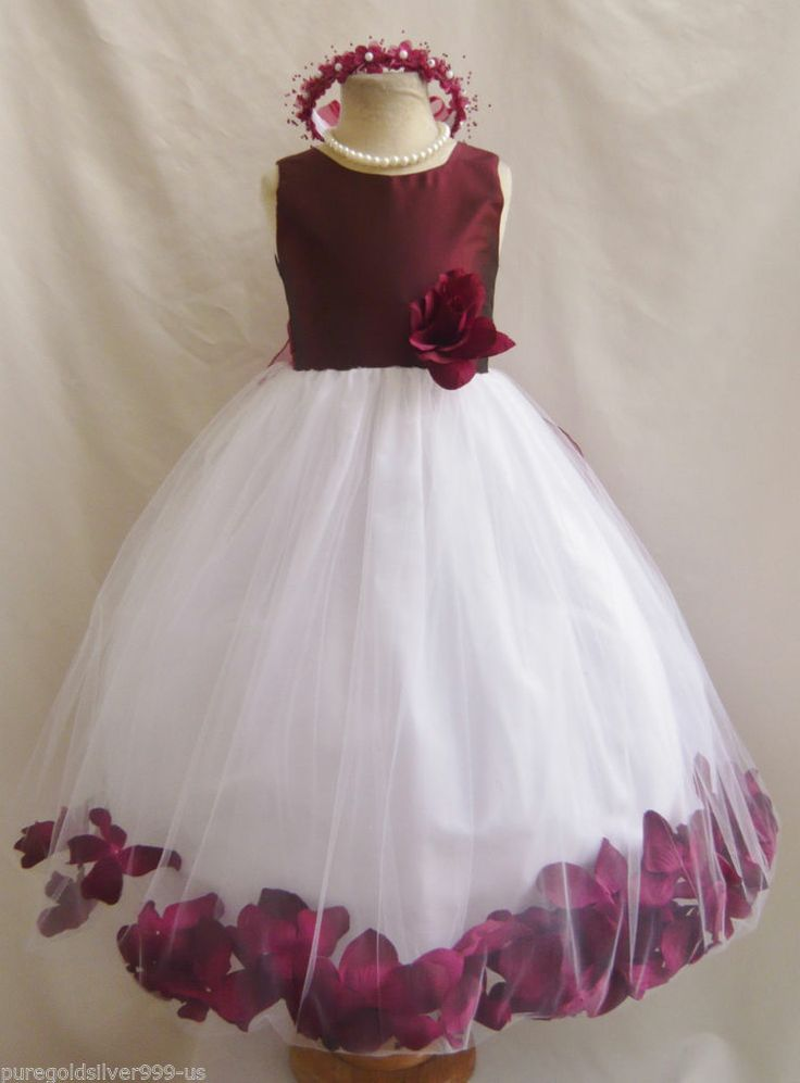 Burgundy Wine Christmas Pageant Party Flower Girl Dress 18 -3341