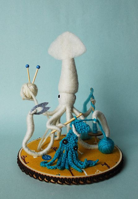 Mr. White Squid the crafter, by Hine Mizushima (Hine on flickr)
