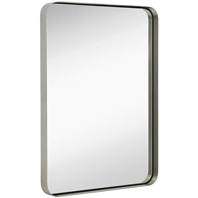 Hamilton Hills Contemporary Brushed, Brushed Steel Bathroom Mirror