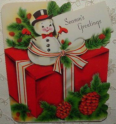 UNUSED - Snowman, Christmas Gift - 1950's Vintage Christmas Card