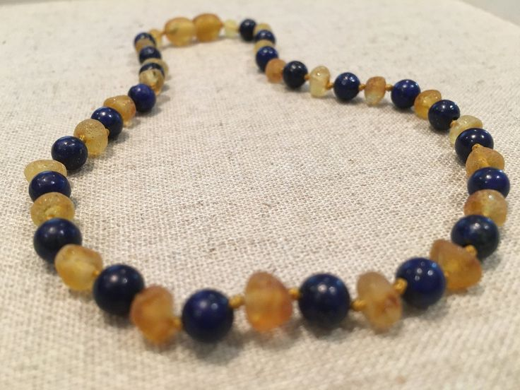 ADHD Anxiety Teething Raw UnPolished Lemon Lapis Lazuli Baltic Amber Necklace for Baby, Infant, Toddler, Big Kid.