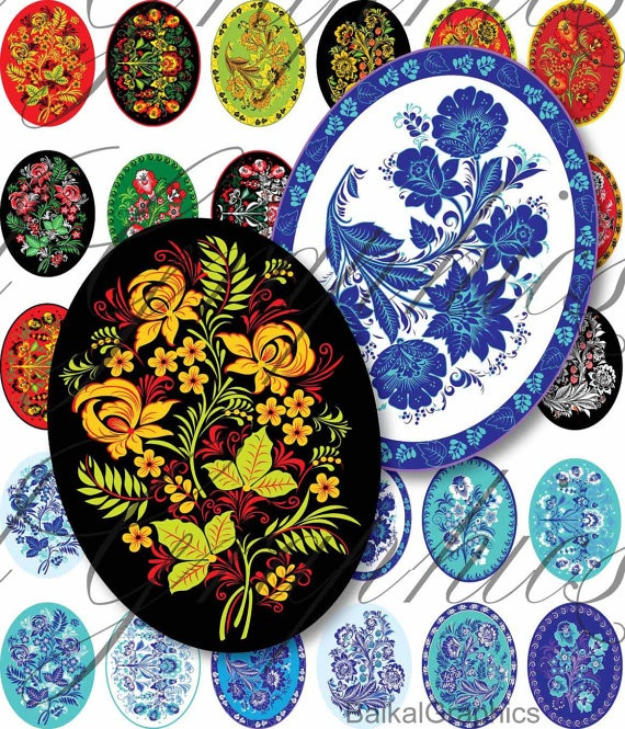 Hohloma Russian Folk Art  flowers Digital by BaikalGraphics, $3.50