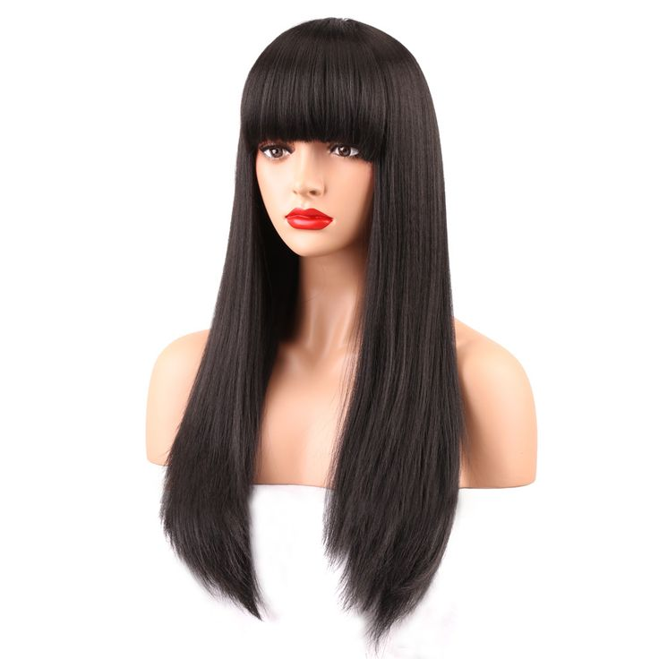 COLODO Long Black Hair Wigs For Black Women Yaki Straight Full Density Heat Resistant Synthetic Wig With Bangs 22inch