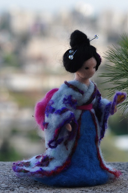 Needle felted Geisha-Waldorf inspired standing doll-soft sculpture by daria.lvovsky,