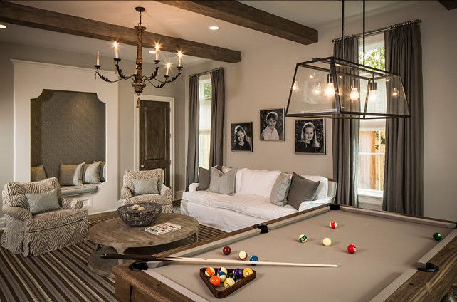 "Light Fixture. Light fixture above the pool table is ""Filament Chandelier by Restoration Hardware"". #LightFixture"