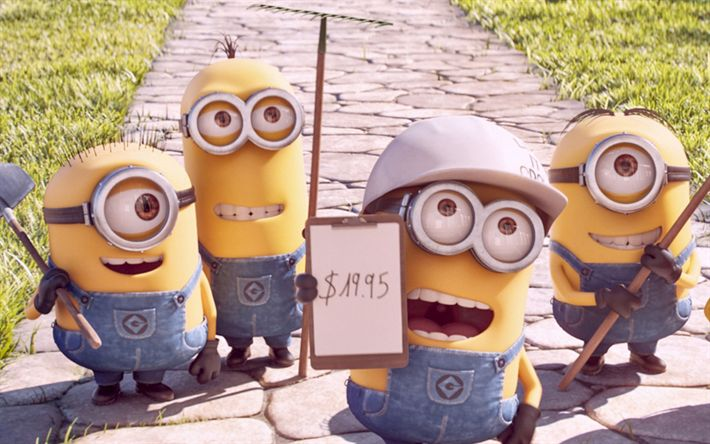 Download wallpapers Minions, workers, Despicable Me, 3D-animation, Funny Minions
