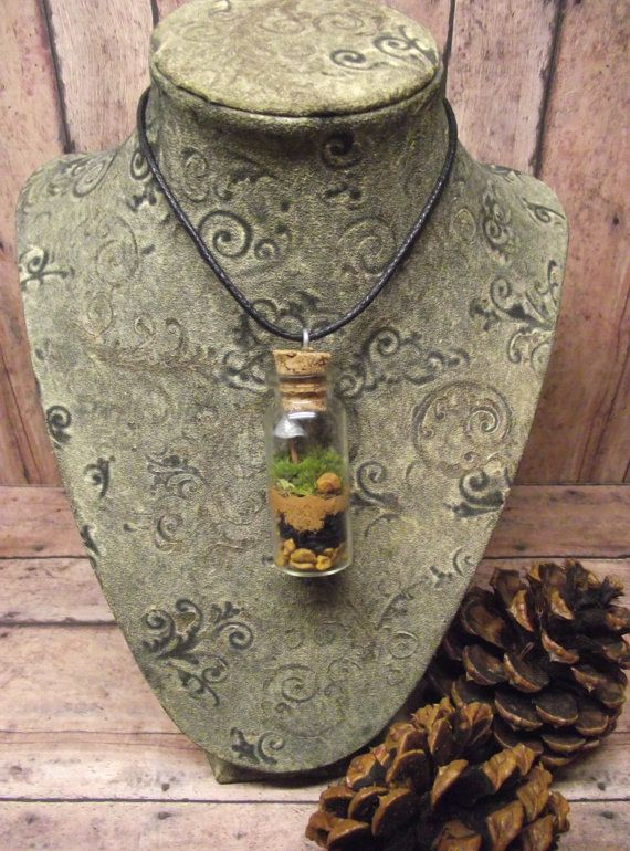 Free Shipping Miniature Terrarium Necklace Live Moss by GypsyRaku, $10.00