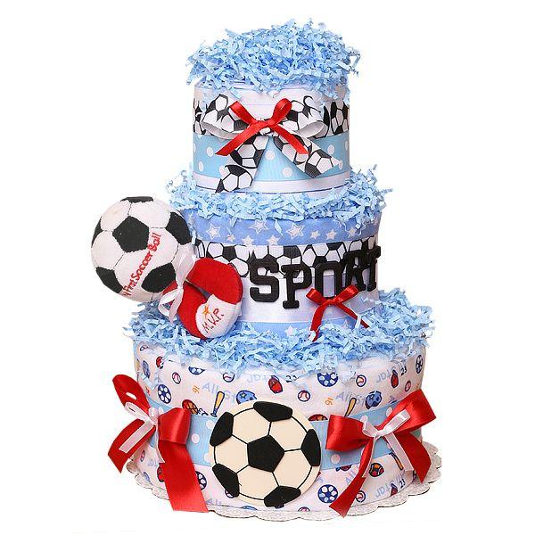 soccer diaper cake
