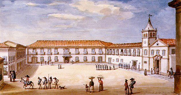 Palácio do Governo em São Paulo , 1827  aquarela sobre papel, c.i.d.  11 x 21 cm  Coleção Particular  Reprodução fotográfica Romulo Fialdini