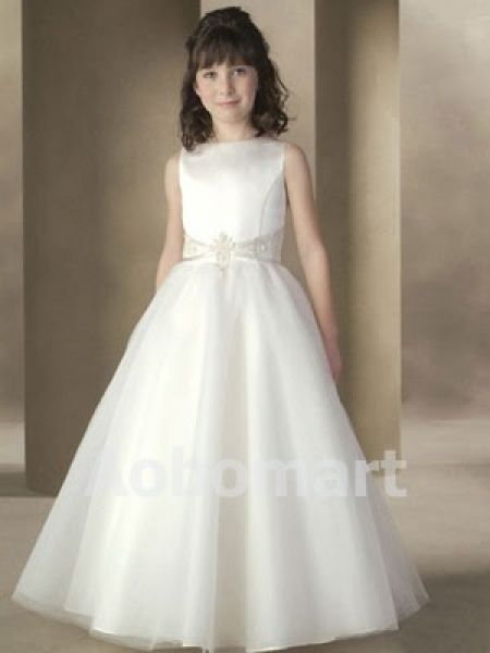 Ball Gown Bateau Floor-length Organza Satin Flower Girl Dress - £45.63