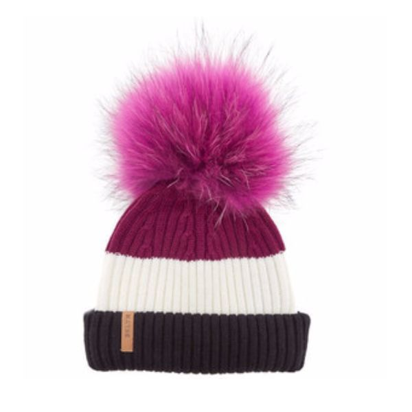 BKLYN Cherry, White & Black Bobble Hat With Fuchsia Pom: Luxury Italian merino wool bobble hat from BKLYN in Cherry, White and Black with Fuchsia pom pom. Ideal for the winter season and will add an element of style and fun to any outfit. The fine fibres which blend and feel gentle next to your skin and kind on your hair, the raccoon fur pom pom is uniquely coloured to each hat and detachable via a metal popper.