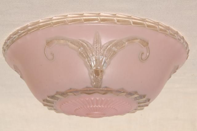 vintage pressed glass lampshade for antique electric light, shabby chic rose pink lamp shade