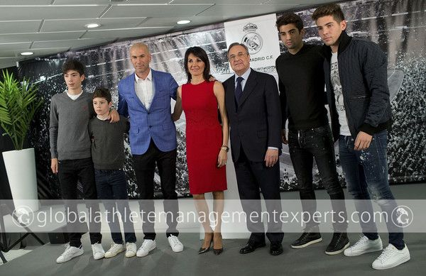 - #RealMadrid CF president #FlorentinoPerez poses for a picture with #ZinedineZidane as new Real Madrid head coach surrounded by his family, wife Veronique Zidane and sons (L-R) Theo Zidane, Elyaz Zidane Fernandez, Enzo Fernandez and Luca Zinedine Zidane Fernandez at #SantiagoBernabeuStadium on January 4, 2016 in Madrid, Spain.