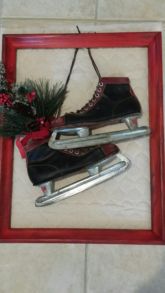 Incorporate family finds into your holidays. Instead of a traditional wreath, my dad's old hockey skates make a festive greeting...and bring back memories.